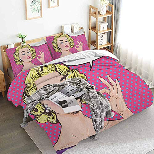 HouseLookHome Vintage Duvet Cover and Sheet Set Pop Art Blonde Woman Making OK Sign on Dotted Background Retro Comic Book Design Crib Bedding Sets Multicolor Queen Duvet Cover Set
