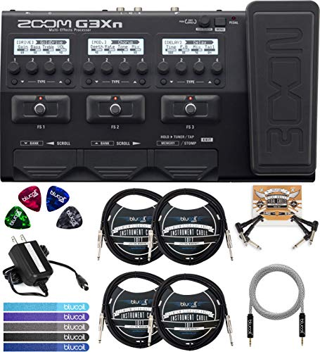 Zoom G3XN Multi-Effects Processor Bundle with Guitar Lab Software, Blucoil 4x 10-FT Straight Instrument Cables (1/4in), 5-FT Audio Aux Cable, 2x Patch Cables, 4x Guitar Picks, and 5x Cable Ties