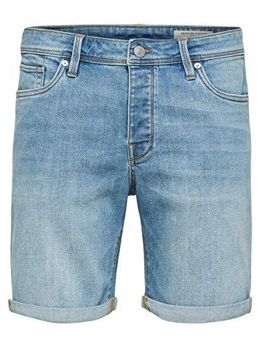 SELECTED HOMME Herren Jeansshorts SLHALEX 312 Regular FIT - Slight Blue Denim