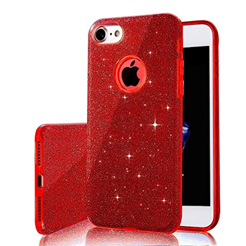 Anyos iPhone 6/6s、7/8 Plus Case,Bling Glitter Sparkle Three Layer Shockproof Soft Cover for iphone6/6s、7/8Plus (iPhone 8 Plus, Red)