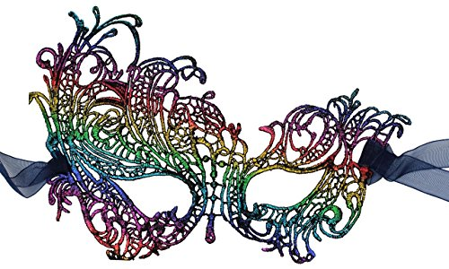Luxury Mask Women's Stunning All Rainbow Lace Masquerade Mask Swan