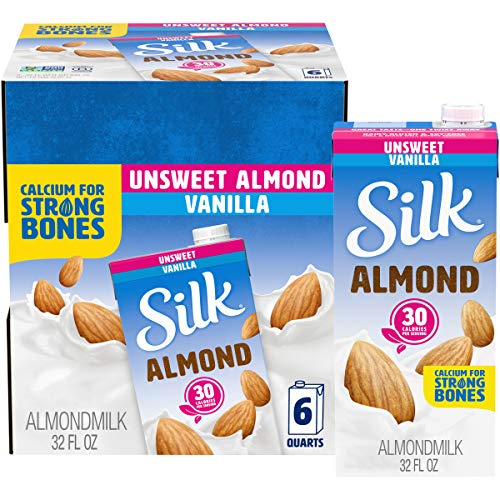 Silk Almond Milk, Unsweetened Vanilla, 32 Fluid Ounce (Pack of 6), Vanilla...