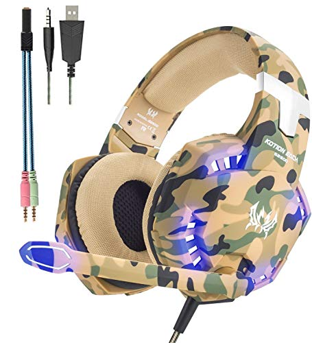 KOTION Each G2600 PS5 Camo Gaming Headset,PS4 Headset with Microphone,Xbox One Headset with Noise Canceling Mic&Led Light, PC Headset with 7.1 Bass Surround Sound, Nintendo Switch Headset with Mic.