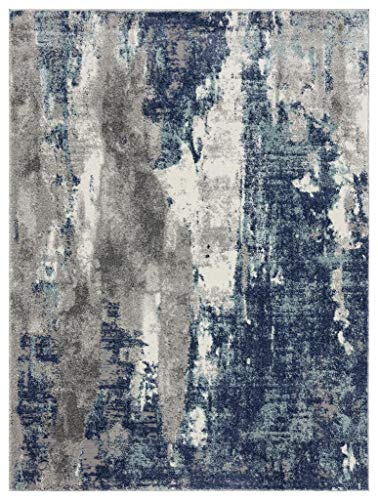 Luxe Weavers Euston Blue 8 x 10 Abstract Modern Area Rug 7681