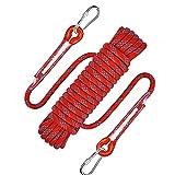 Cuerda de escalada al aire libre, 2 mosquetones, 8 mm de diámetro, cuerda de seguridad trenzada, cuerda de nailon, longitud 10 m, para exterior, senderismo, accesorios, deportes, camping
