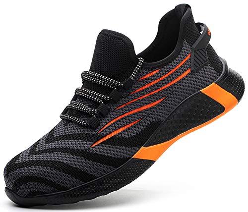 SUADEX 安全靴 軽量 オレンジ 黒 あんぜん靴 スニ一カ一 作業靴 通気性 おしゃれ 工事 現場 靴 作業 鋼先芯 耐摩耗 防刺 耐滑 アウトドア ワーク シューズ セーフティーシューズ