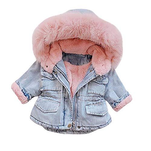 Toddler Baby Girls Faux Fur Denim Jackets Hooded Thicken Fleece Warm Jean Coat Plush Winter Hoodie Outwear for Kids Children Fall Hoody Long Sleeve Snowsuit Clothes Outfit # Pink 6-7 Years