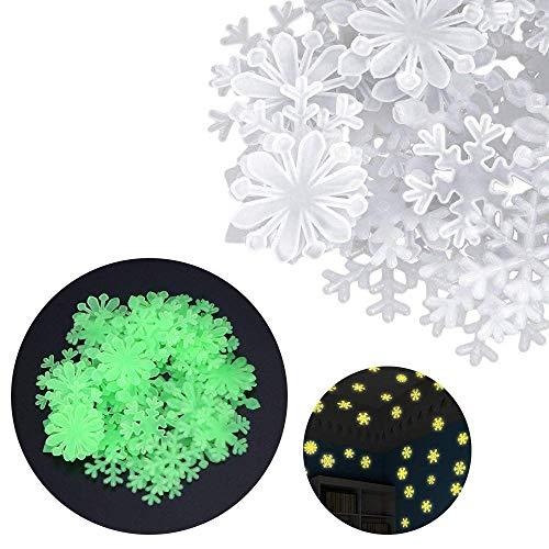 BANNAB 100 Pegatinas de Pared de Copo de Nieve Fluorescentes Que Brillan en la Oscuridad del Dormitorio de los niños Hermosos (Blanco)