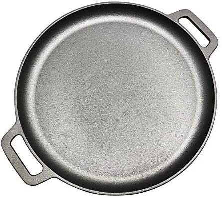 Pot 33cmcast Iron bistec Pan Barbacoa Carne Asada Tostador de Ronda sin Recubrimiento Que Cocina la Pizza Pancake Planchas Flate Bottom