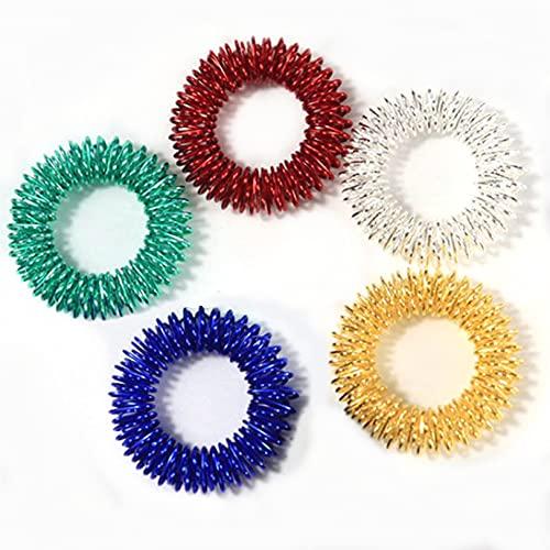 YYZLL 5 Stück Fingermassage Ringe Stachelige sensorische Fingerringe Akupressur Ring Set sensorisches Spielzeug für Jugendliche Erwachsene,Farbe