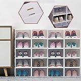 Juego de 20 cajas para zapatos, caja de plástico con puerta transparente, multiusos, color blanco