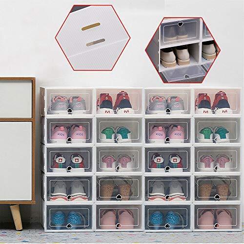 Generic Set di 20 scatole per scarpe, impilabili, in plastica con porta trasparente, multiuso, colore: bianco (morbido)