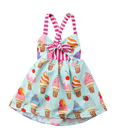 Toddler Baby Girls Summer Skirt Ice Cream Print Sleeveless Strap Backless Dress (Green, 12-18 M)