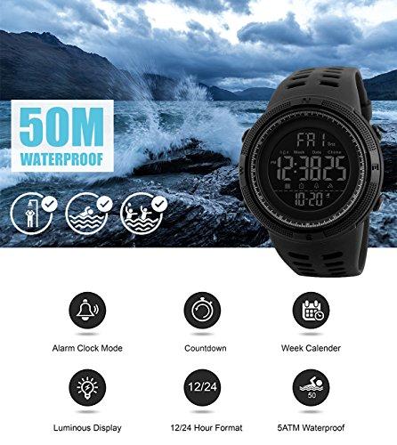 Herren Digital Sport Uhren – Outdoor wasserdichte Armbanduhr mit Wecker Chronograph und Countdown Uhr, LED Licht Gummi Schwarz große Anzeige Digitaluhrenfür Herren - 7