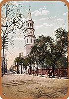 メタルサイン1900聖ミカエル教会チャールストンレトロ装飾ティンサインバー、カフェ、アート、家の壁の装飾