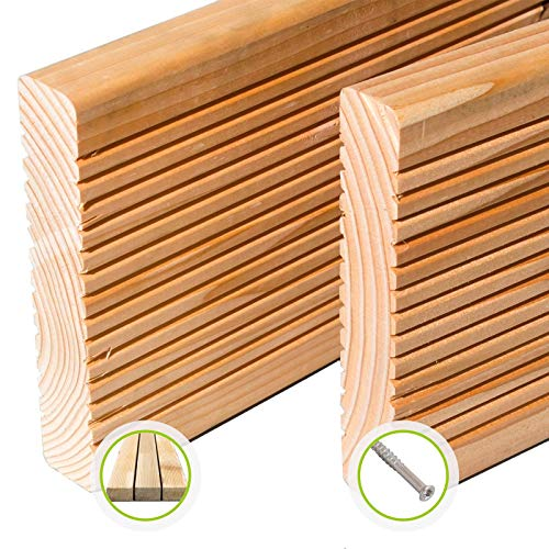 HORI® Douglasie-Terrassendielen Premium I Komplettset, massive Holz-Terrassendielen I Dielenlänge 4 m I Fläche 15 m²