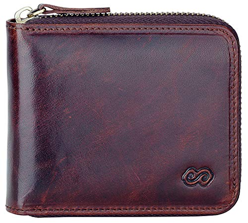 Men's Leather Zipper Wallet RFID Blocking Zip Around Wallet Bifold Multi Card Holder Purse dark brown
