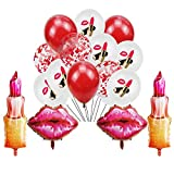 Valentine's Day Lipstick Balloons Set Include 2 Pcs Kiss Lip Balloons 2 Pcs Lipstick Balloons and 20 Pcs Latex Red Lip Balloons for Valentine's Day Anniversary Mothers Day Wedding Engagement Party Supplies