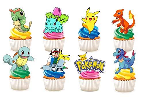 Kuchendekoration aus Esspapier mit Pokemon-Motiv, 33 Stück