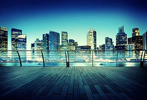 GoEoo 7x5ft City Night View Backdrop Modern Buildings Broad Road Photography Background LYHUI034