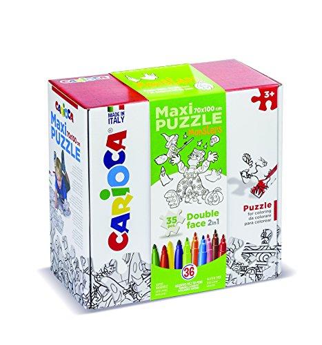 Carioca Maxi Puzzle Monster 35 piezas y 36 rotuladores, Multicolor