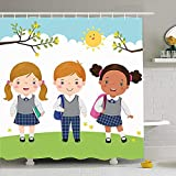 Hotyle Cortina de Ducha con Ganchos 72X72 Tres niños Uniforme Escolar Niños Mochila Mochila Personas Jardín de Infantes Niña Educación Escolar