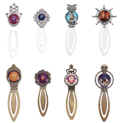 SUNNYCLUE 16Pcs 2 Colors Owl Hamsa Hand Bookmark Pendant Tray Kit Include 8pcs Metal Cabochon Bookmark Blank & 8pcs Oval Round Clear Glass Cabochon, Lead Free & Cadmium Free