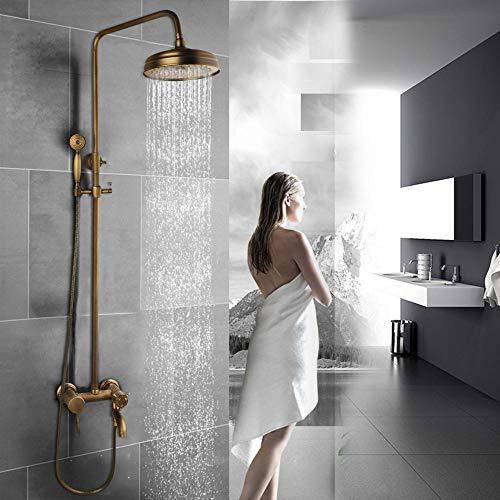 Gnailur Llásico de latón antiguo Ducha de baño Ducha Ducha Mano y ducha redonda Mezclador de mano Tapas de doble asas de baño Combo de baño
