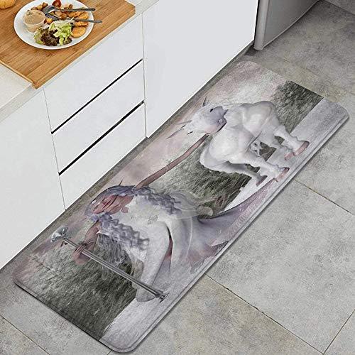 Anti Fatiga Cocina Alfombra del Piso,Maza de caballo personalizada con niña elfa de pelo blanco caminando descalzo,Antideslizante Acolchado Puerta Habitación Bañera Alfombra Almohadilla,120 x 45cm