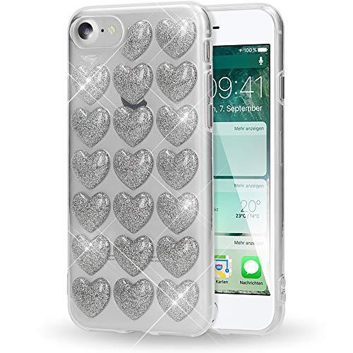 NALIA Cuore 3D Custodia Protezione compatibile con iPhone SE 2020/8 / 7, Ultra-Slim Glitter Case Cover Protettiva Morbido Cellulare in Silicone Gel, Gomma Bumper Sottile, Colore:Argento