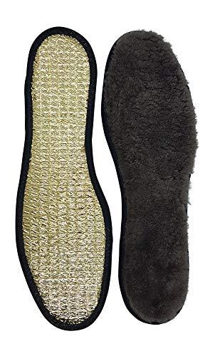 echte warme Lammfell Einlegesohle-n braun mit Aluboden I Gr.45 I 29cm gegen Starke Bodenkälte (45 EU)