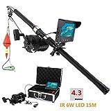 Ayanx Kit de cámara de Video de Pesca submarina de aleación de Aluminio 6W IR LED Luces con Monitor de Color HD de 4.3 'Pulgadas