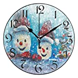 Reloj de Pared Moderno,Snow Copo de nieve Árbol de Navidad Árbol de Navidad Muñeco de nieve,Grandes Decorativos Silencioso Reloj de Cuarzo de Redondo No-Ticking para Sala de Estar,25cm diámetro