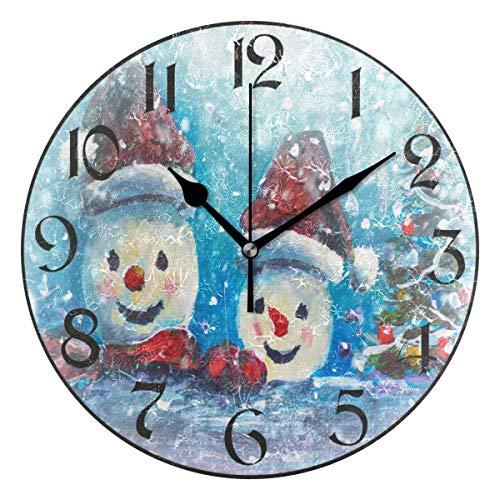 Jacque Dusk Orologio da Parete Rotondo Silenzioso Senza ticchettio Orologio Decorativo,Fiocco di Neve Albero di Natale Albero di Natale Pupazzo di Neve per Soggiorno Camera da Letto