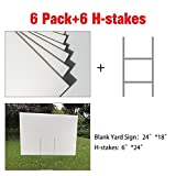 "MEJOR CONOCIDO 6 Pack 24""x18"" White Blank Lawn Yard Signs Corrugated Plastic Sheet with Durable H-Stakes, Opening Business, Garage Rent, House Sale"