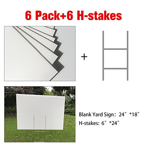 """MEJOR CONOCIDO 6 Pack 24""""x18"""" White Blank Lawn Yard Signs Corrugated Plastic Sheet with Durable H-Stakes, Opening Business, Garage Rent, House Sale"""