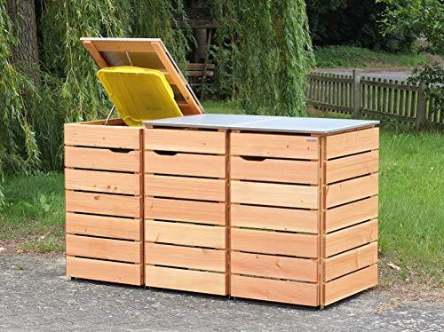 3er Mülltonnenbox / Mülltonnenverkleidung 240 L Holz, Deckend Geölt Nordisch Rot - 3