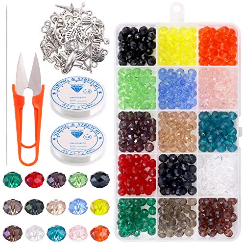 Keadic 474Pcs 15 Colors 8MM Briolette Crystal Glass Beads Kit for Bracelets, Necklaces, Earrings & Other DIY Beading Jewelries, with 0.8mm Elastic Cording, Craft Scissor,Eyepin & Rustic Pendant