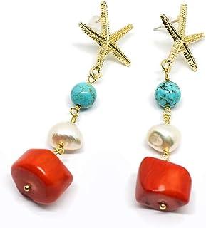 Orecchini pendenti a perno con stella marina turchese perla e corallo