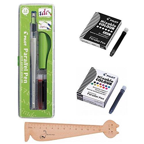 Lot Pilot Parallel Pen 3,8 mm +1 Boîte de 12 cartouches d'encre Couleurs assorties + 1 Boîte 6 Cartouches noires + 1 Règle Marque-page en Bois Blumie