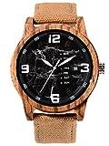 Alienwork Reloj Hombre Relojes Cañamazo Amarillo Analógicos Cuarzo Calendario Fecha Negro Impermeable Madera Natural