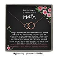 Memorial Gifts for Loss of Mother, Memorial Gifts, Bereavement Gifts, 2 Interlocking Circles Necklace with Meaningful Message