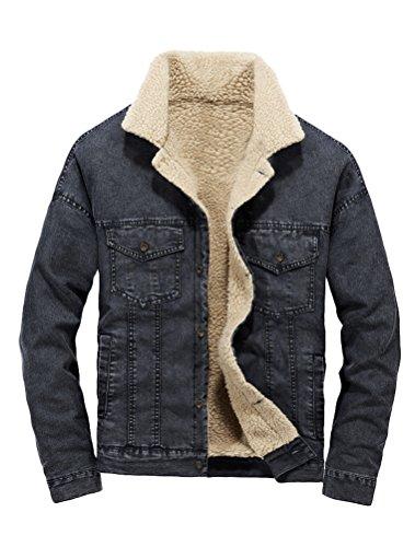 MatchLife Classics Herren Jeansjacke Winter Denim Jacket Gefütterte Jeans Jacke Winterjacke (Medium, Style6-Schwarz)