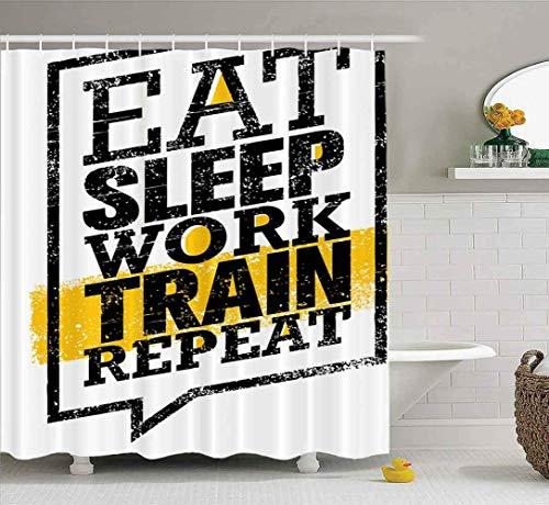 Duschvorhang, klarer Duschvorhang, niedlicher Duschvorhang Essen Schlaf Arbeit Zug Wiederholung Workout Fitness Sport Bad Set mit Haken Bad Duschvorhang Kleiner Duschvorhang