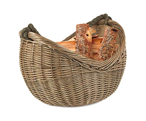 Photo of Wrenbury Log Basket Wood Basket Antique Willow Rope Handle Carrying | Fireside Accessories Wicker Log Basket | Willow Basket with Handle Rope | Log Baskets for Wood