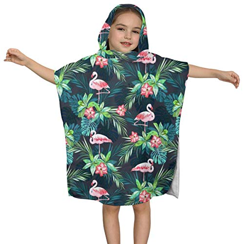 Florasun 3D Printed Pink Flamingo Palm Tree Polyester Kids Hooded Bath Towel 32'' X 51'' Inch-White-OneSize