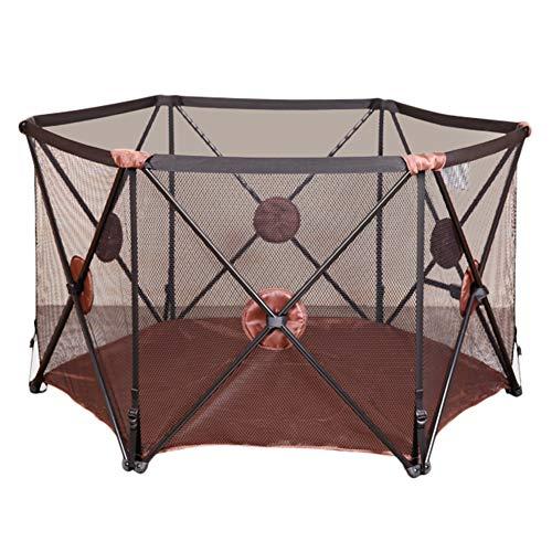 Dongyd Pop Up Et Sécurisé Easy Fold Playpen Portable Baby Play Yard, Centre D'activité pour Enfants Intérieure Et Extérieure Sécurité Game Fence (Color : Brown)