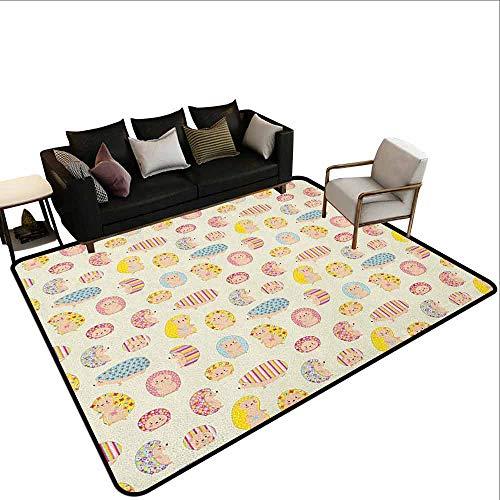 MsShe Outdoor tapijt Egel, Sketch Art voor Kinderen Paddestoelen en Leuke Bos Dieren met Dots, Bleke Grijs Bleke Oranje Wit