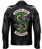 Riverdale Southside Serpents Jughead - Giacca da motociclista in pelle con logo serpente nero Nero L