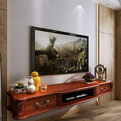 Estante para TV Armario multimedia Entretenimiento Consola flotante Unidad de estantería para juegos con 2 cajones Mueble Soporte para TV montado en la pared (Color: Blanco + Marrón, Tamaño: 120 cm) n